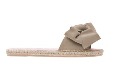 Manebi Hampton Flat Sandal with Bow - Vintage Taupe