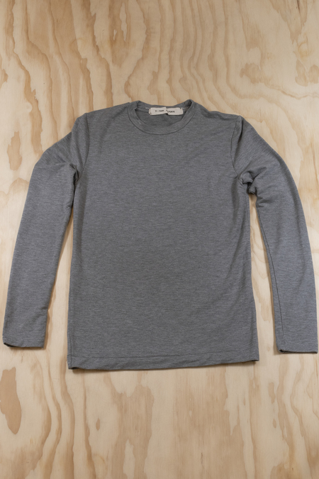 V ROOM Tencel Stretch Mini Fleece Long Sleeve Tee - HEATHER GREY