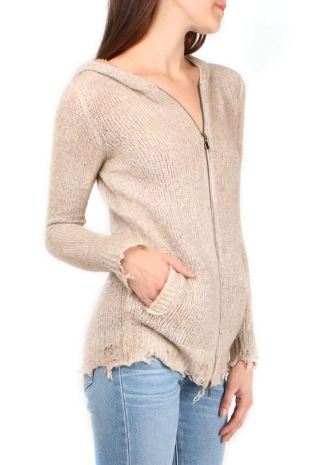 Avant Toi Hooded Cardigan with Destroyed Edges - Corda