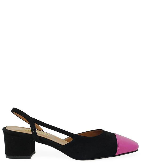 Paris Texas Black Fuschia Suede and Leather Sandal