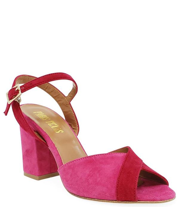 Paris Texas Red/Fuchsia Suede Sandal