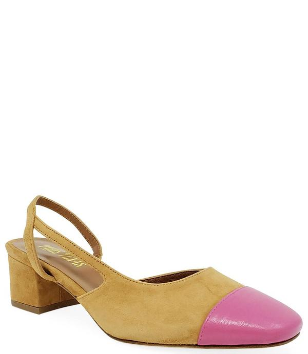 Paris Texas Tan/Pink Suede and Leather Sandal
