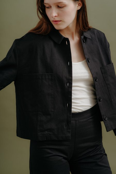 Ali Golden Cropped Jacket - Black Canvas