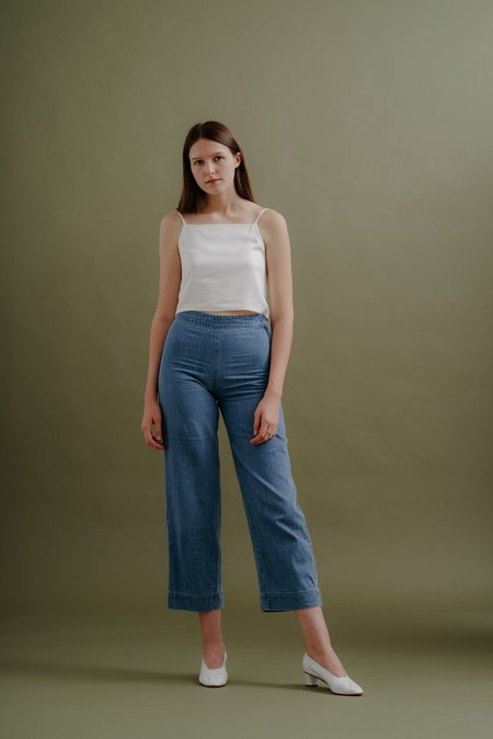 Ali Golden Side Zip Pant - Light Denim