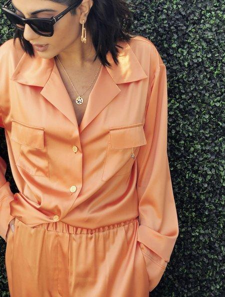 Montserrat New York The Charmed Silk Button Down - Apricot