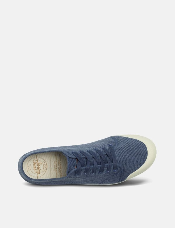 Spring Court G2 Washed Out Vintage Heavy Twill Low Trainers - Blue