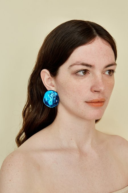 Julie Thevenot SMALL REFLECTION EARRINGS - electric blue
