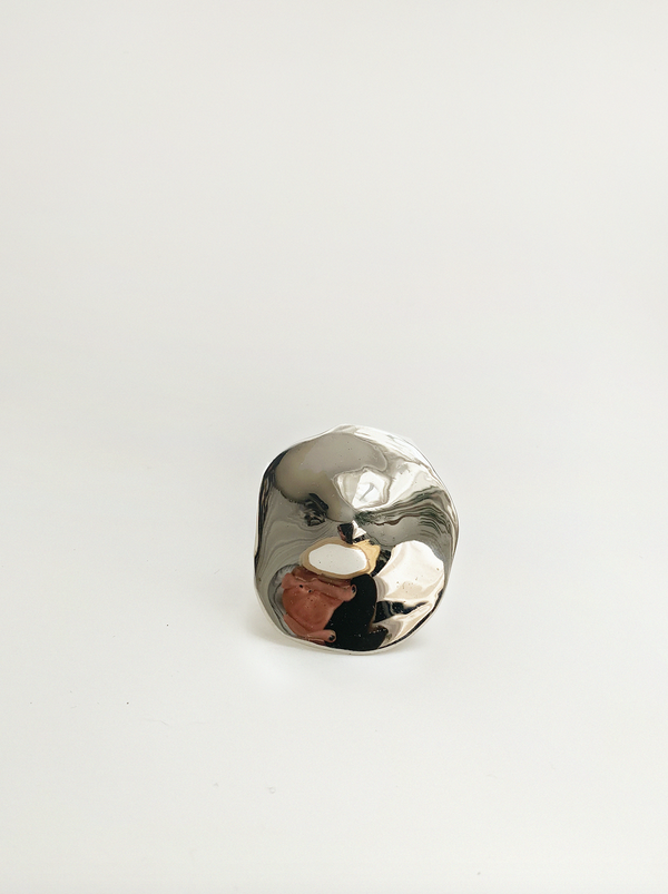 Julie Thevenot LARGE ARAPED RING - WHITE BRONZE