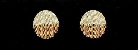 hannah keefe half circle studs - silver/brass
