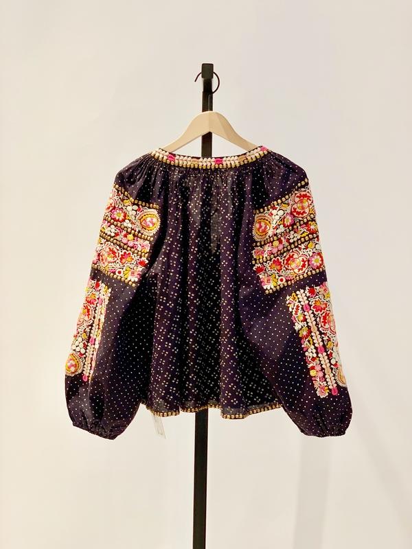Ulla Johnson embroidered polka dot yara blouse - navy