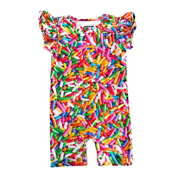 KIDS Romey Loves Lulu Ruffle Short Romper - Rainbow Sprinkles