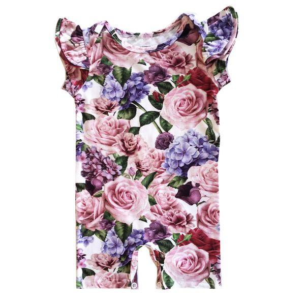 KIDS Romey Loves Lulu Roses Ruffle Short Romper - rose