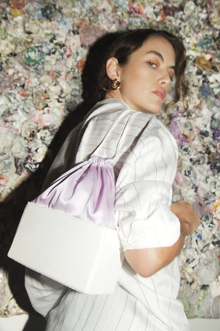 altaire leather silk Box Bag - White/Lilac
