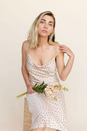 BETWEEN TEN Eleanor Cowl Dress - Ivory Polka