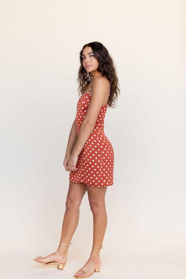 BETWEEN TEN Maria Mini Dress - Red Polka