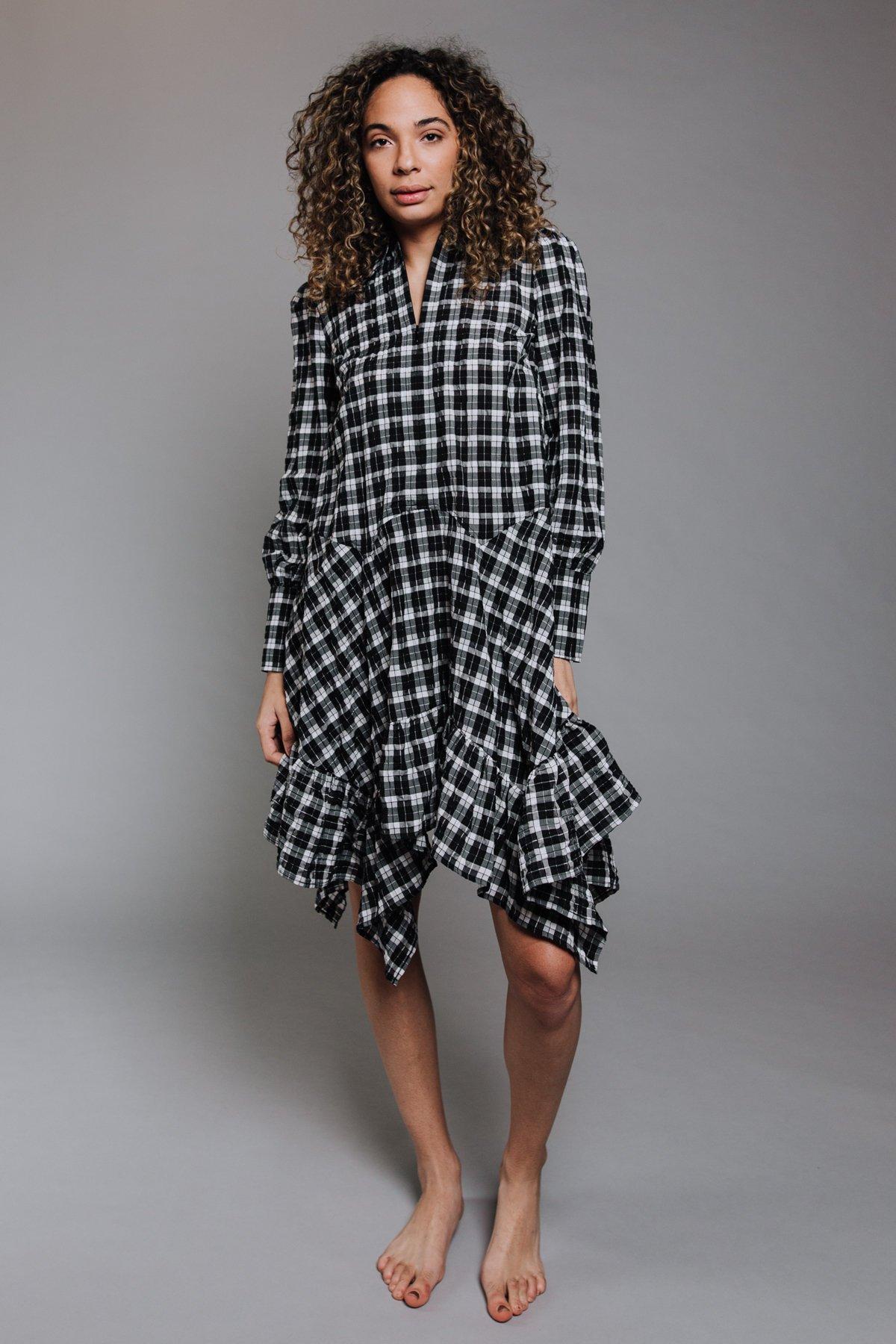 Ganni Seersucker Check Dress Black Garmentory