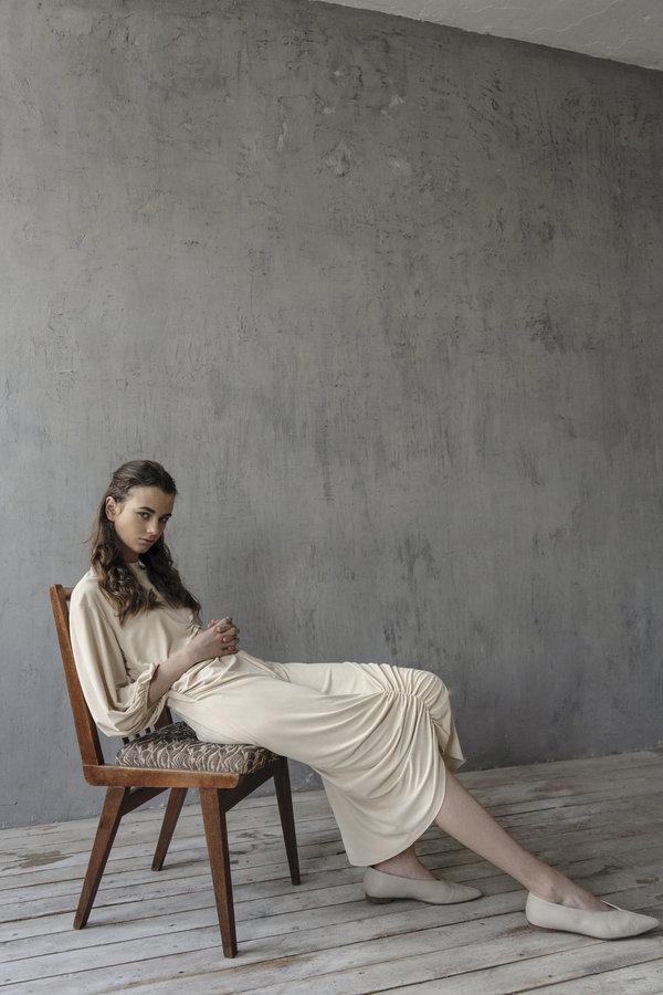 K M by L A N G E DRAPED SHTORA DRESS - CREAM