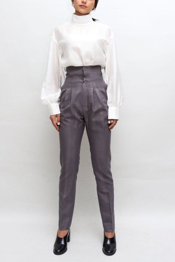 W A N T S Rally Slim High Waisted Pants - Grey Striped