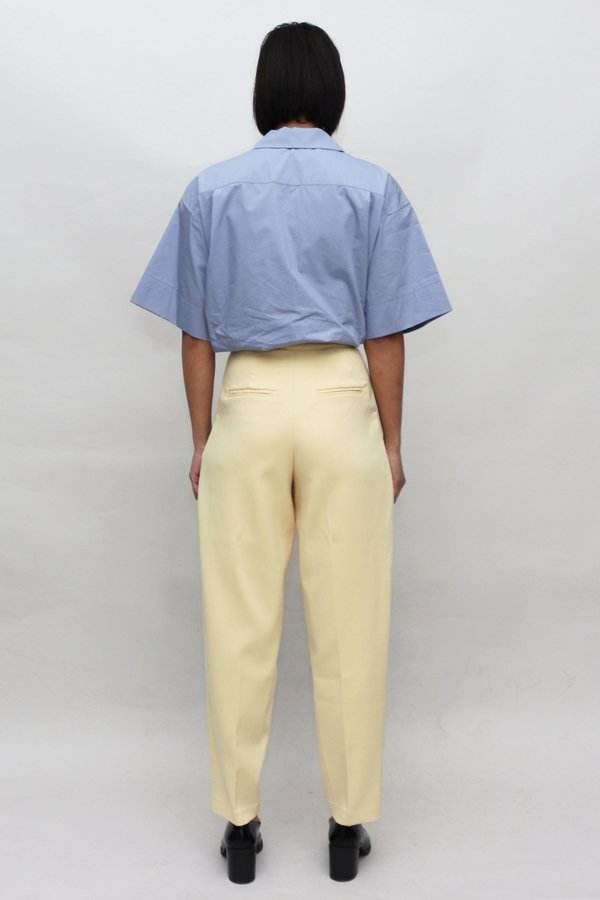 W A N T S Contrast Buttons High Waisted Pants - Pale Yellow