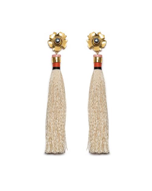 Lizzie Fortunato Tahitian Tassel Earrings in Cream