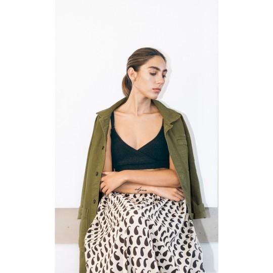 pari desai monsoon block-printed skirt Buttermilk / Ebony