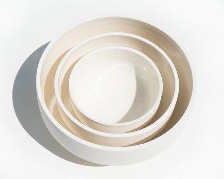 Luke Eastop Trio of Porcelain Bowls - Cream