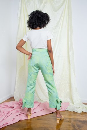 Suzanne Rae Bow Pant - bright green floral