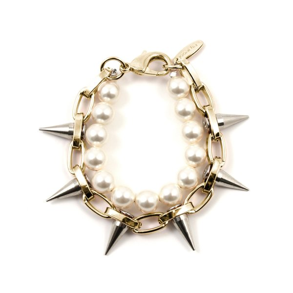 Joomi Lim Single Row Spike Bracelet with Pearls - Gold/Rhodium/Cream