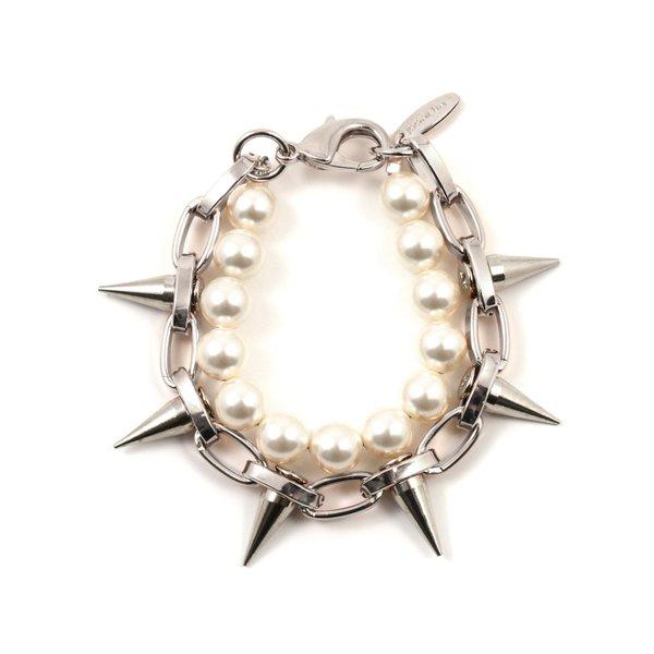Joomi Lim Single Row Spike Bracelet with Pearls - Rhodium/Rhodium/Cream