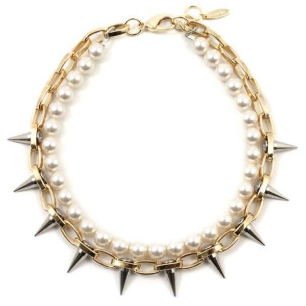 Joomi Lim Single Row Spike Choker with Pearls - Gold/Rhodium/Cream
