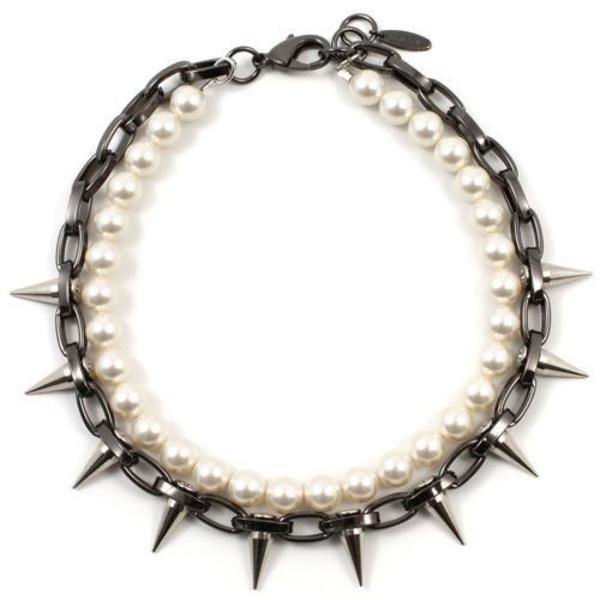 Joomi Lim Single Row Spike Choker with Pearls - Hematite/Rhodium/Cream
