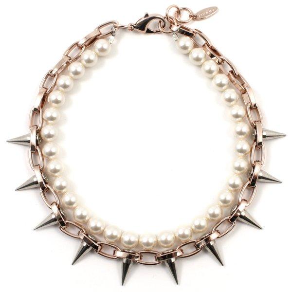 Joomi Lim Single Row Spike Choker with Pearls - Rose Gold/Rhodium/Cream