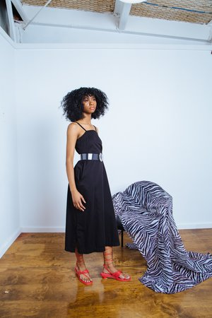 Ali Golden Square Dress - black