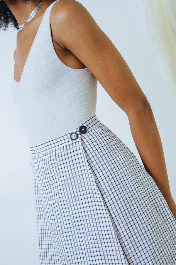 Ali Golden Wrap Skirt - black/white grid
