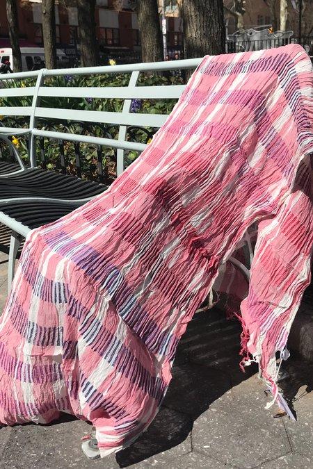 Rujuta Sheth Crushed Cotton Scarf - Rose Chex