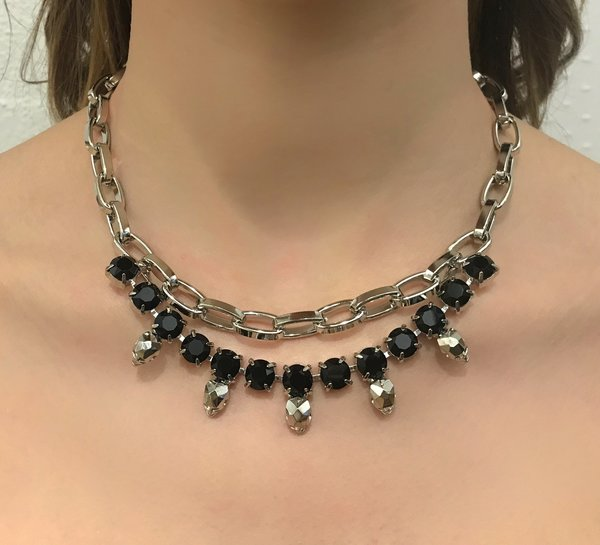 Joomi Lim Chain Necklace with Crystals & Skulls - Rhodium/Black