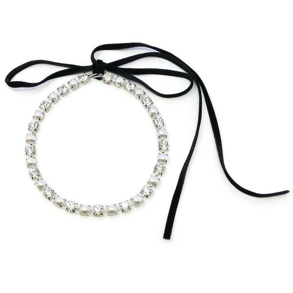 Joomi Lim Crystal & Pearl Choker W/ Velvet Ribbon - Rhodium/White