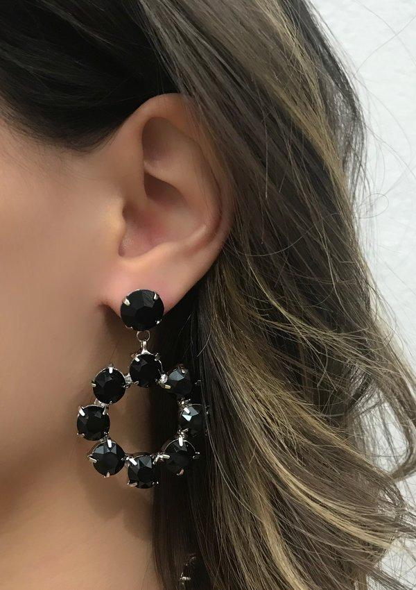 Joomi Lim Crystal Earrings - Rhodium/Black