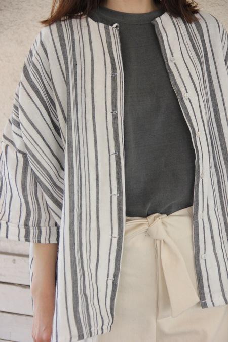 PIETSIE MERIDA SHIRT - Black/White Souk Stripe