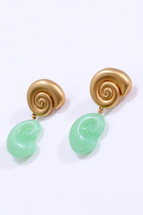 Leigh Miller Nautilus Double Drop Earrings - Green Glass/14k Gold