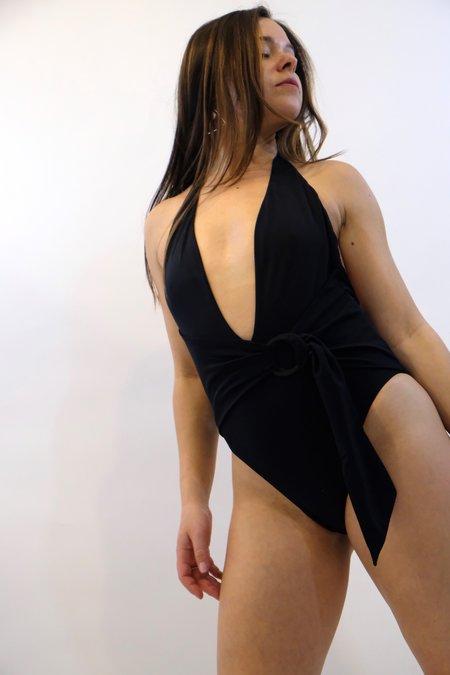 JONATHAN SIMKHAI Classic Front Twist Ring Tie One Piece - Black