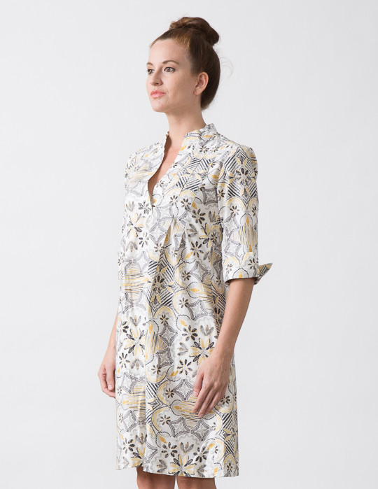 SBJ Austin Ellen Dress in Yellow/Grey Print