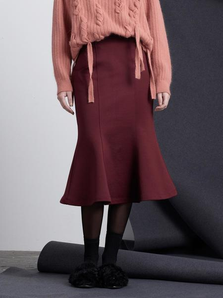 BEMUSEMANSION Mermaid Skirt - Wine
