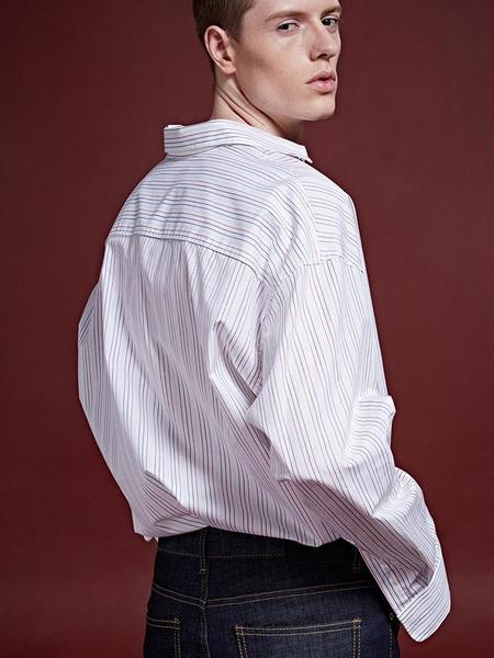 DEANS MULTI STRIPE OVER-FIT SHIRT - IVORY