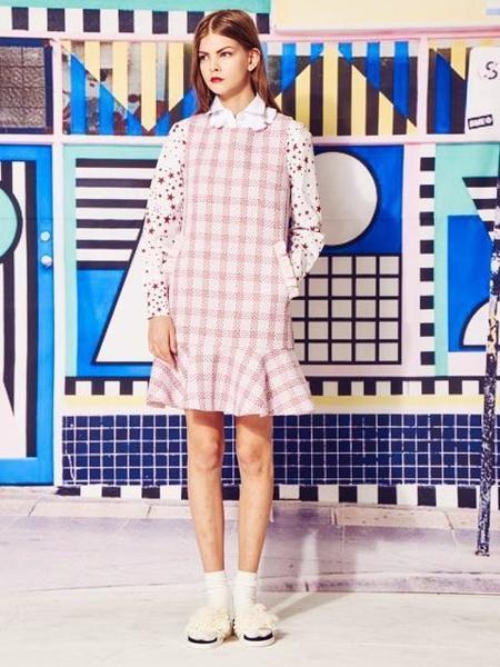 BENJAMINE CADETTE Metal Check Tweed Dress - Pink