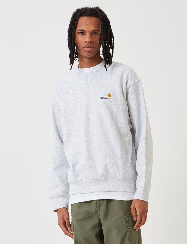 69ecf17538e CARHARTT WIP American Script Sweatshirt - Ash Heather Grey   Garmentory carhartt  wip sweatshirt american