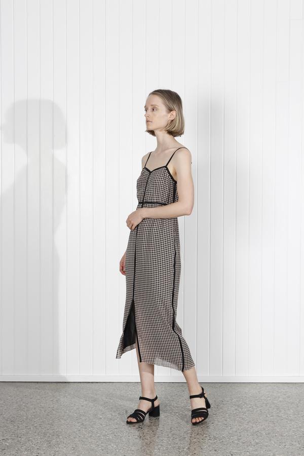 Nanushka Abir Crepe Dress - Black/Camel Check