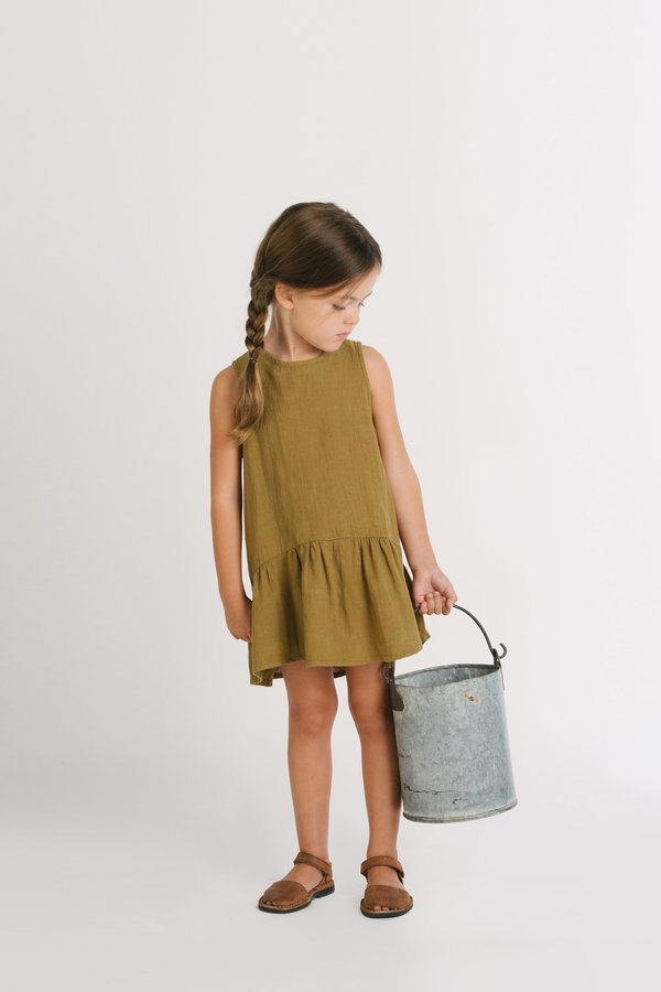 KIDS Go Gently Nation Sleeveless Ruffle Hem Dress - Fennel