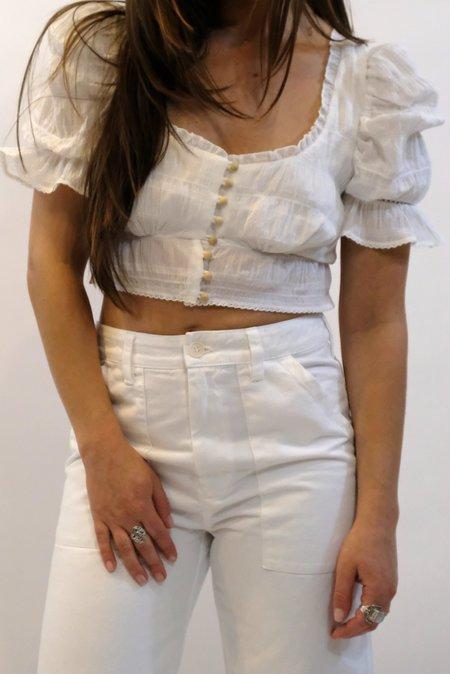 JONATHAN SIMKHAI Lace Combo Puff Sleeve Button Down Top - White