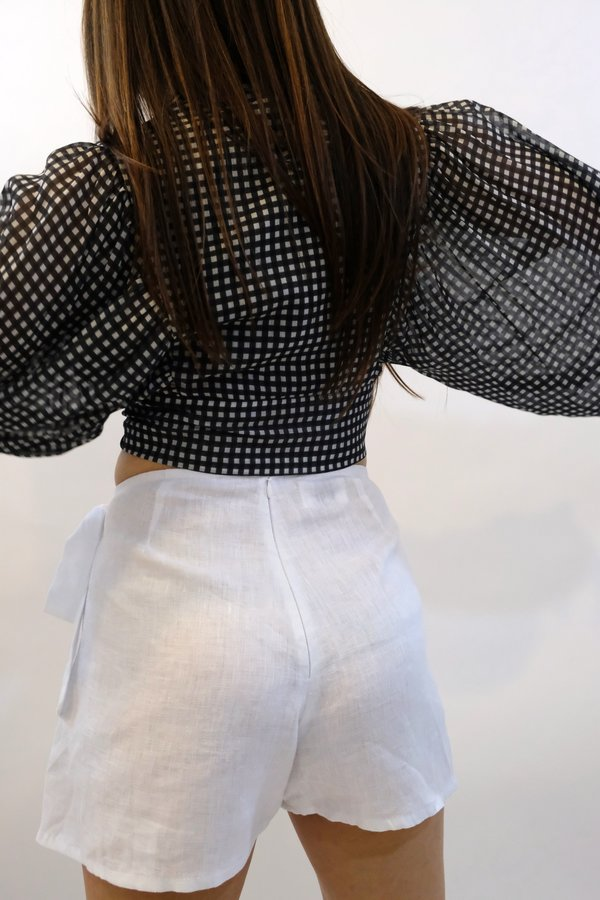 JONATHAN SIMKHAI Gingham Front Tie Ruffle Sleeve Top - Black/White